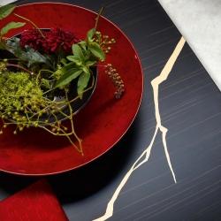 A depth interior design with deep red centerpiece flowered   #kenzotakada #K3 #furniture #furnituredesign #showroom #designshowroom #design #interiordesign #luxury #style #stylish #stylishinteriors #designersofinsta